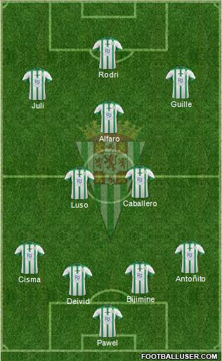 Córdoba C.F., S.A.D. 4-5-1 football formation