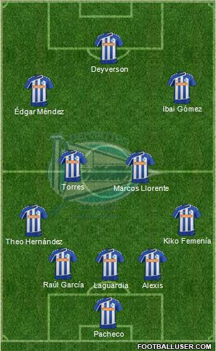 D. Alavés S.A.D. 5-4-1 football formation