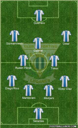 C.D. Leganés S.A.D. 4-1-3-2 football formation