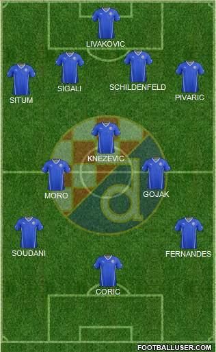 NK Dinamo 4-3-2-1 football formation