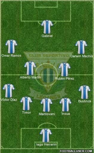 C.D. Leganés S.A.D. 5-4-1 football formation