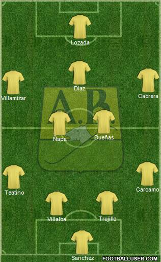 CA Bucaramanga CD 4-4-1-1 football formation
