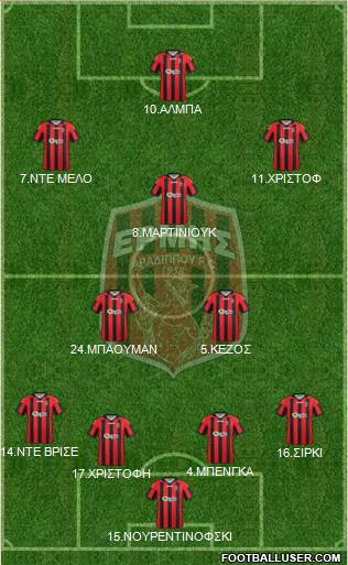PGS Ermis Aradippou 4-3-1-2 football formation