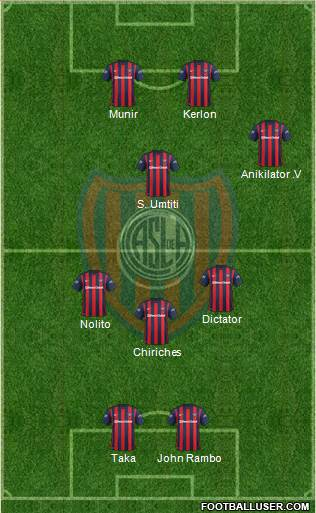 San Lorenzo de Almagro 3-4-3 football formation