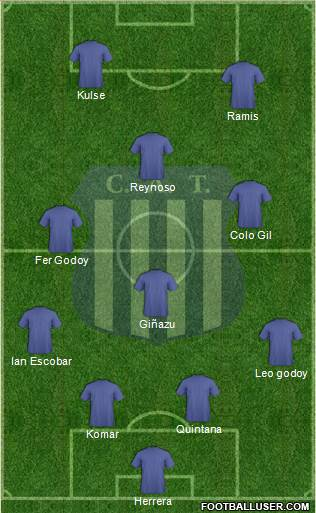 Talleres de Córdoba 4-3-1-2 football formation