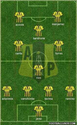 Alianza Petrolera AS 4-3-2-1 football formation