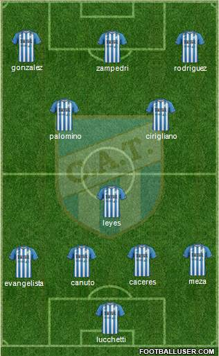 Atlético Tucumán 4-3-1-2 football formation