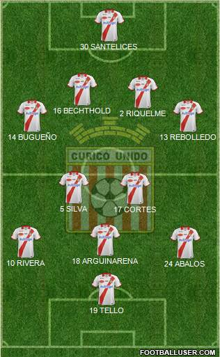 CD Provincial Curicó Unido 4-1-3-2 football formation