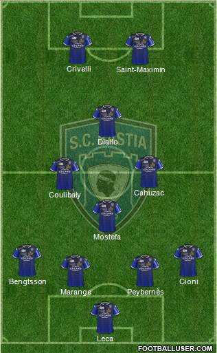 Sporting Club Bastia 4-3-1-2 football formation