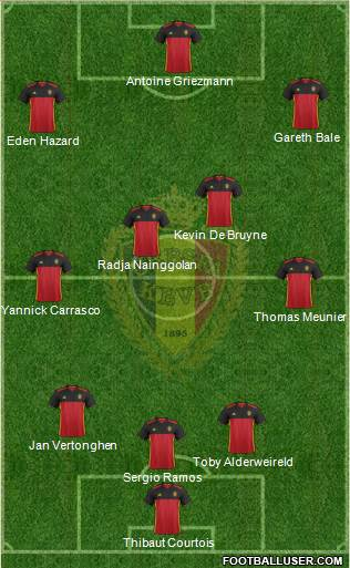 Belgium 3-4-3 football formation