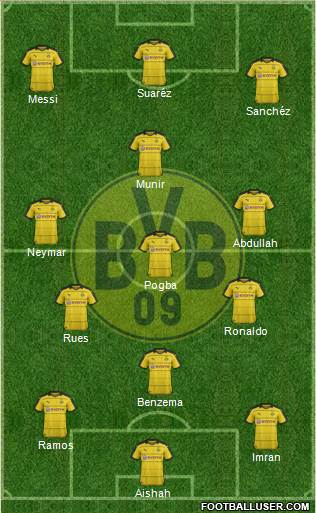 Borussia Dortmund 4-2-2-2 football formation