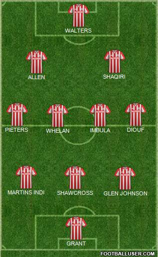 Stoke City 3-4-3 football formation