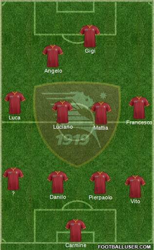 Salernitana 4-4-2 football formation