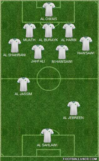 Saudi Arabia 4-1-4-1 football formation