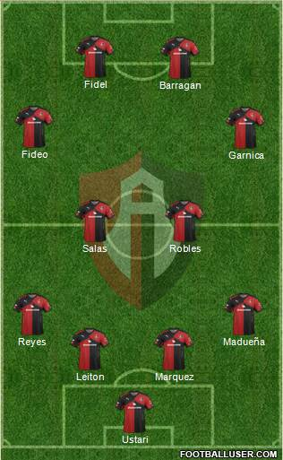 Club Deportivo Atlas 4-4-2 football formation