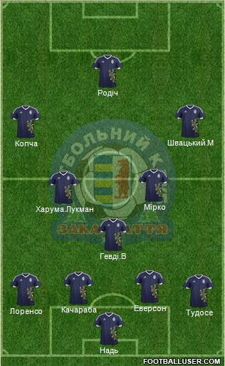 FC Zakarpattya Uzhgorod 5-4-1 football formation