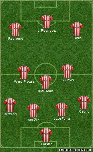 Southampton 3-5-1-1 football formation