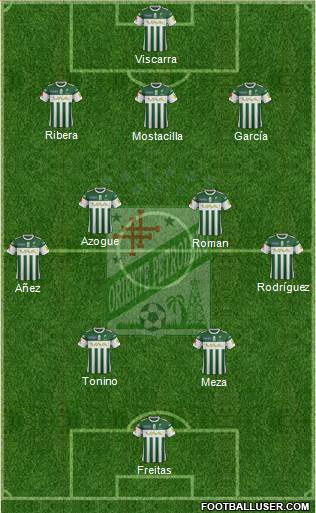 C Oriente Petrolero 3-4-2-1 football formation