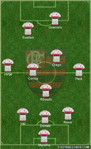 CR Flamengo 3-4-1-2 football formation