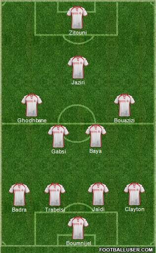Tunisia 3-5-1-1 football formation