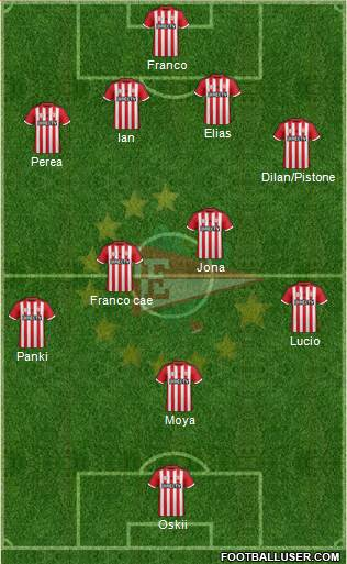 Estudiantes de La Plata 4-4-1-1 football formation