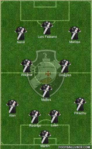 CR Vasco da Gama 4-1-2-3 football formation