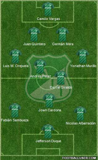 AC Deportivo Cali 4-2-3-1 football formation