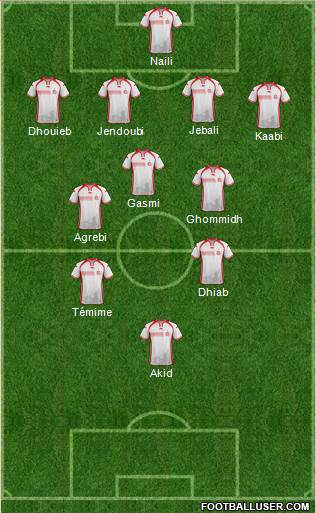 Tunisia 4-4-2 football formation