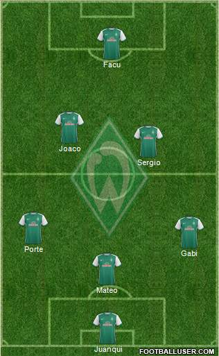 Werder Bremen 3-4-2-1 football formation
