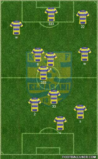 KS Elbasani 4-2-4 football formation