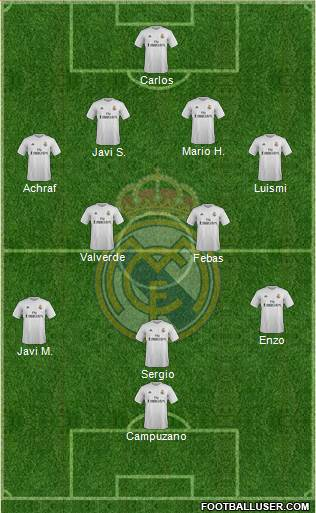 R. Madrid Castilla 4-4-1-1 football formation