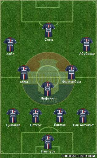Willem II 4-2-2-2 football formation