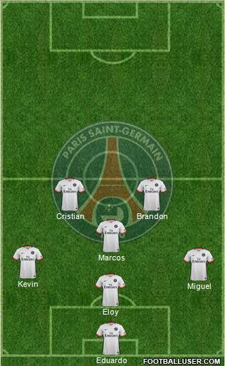 Paris Saint-Germain 3-4-2-1 football formation