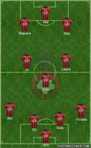 OGC Nice Côte d'Azur 4-3-2-1 football formation