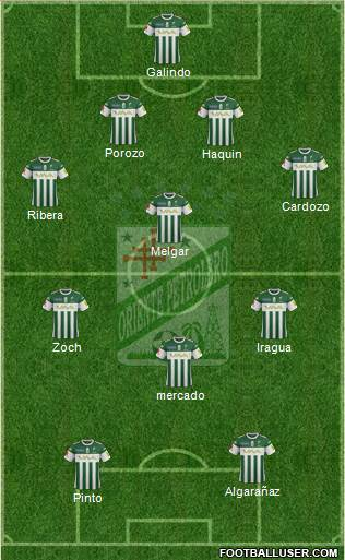 C Oriente Petrolero 4-2-3-1 football formation