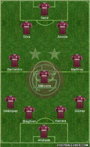 Lanús 4-3-1-2 football formation