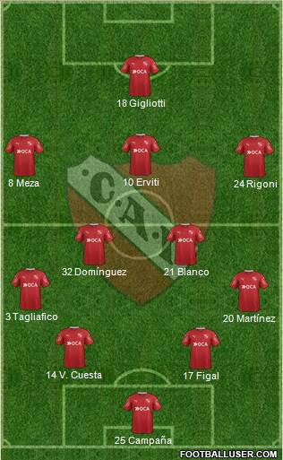 Independiente 4-2-3-1 football formation