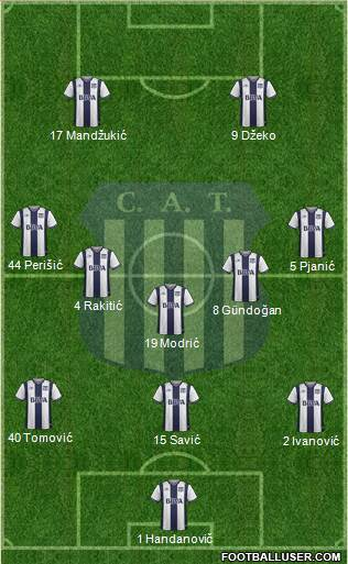 Talleres de Córdoba 3-5-2 football formation