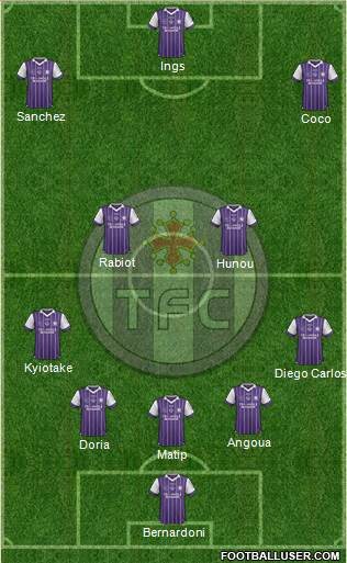 Toulouse Football Club 4-1-3-2 football formation