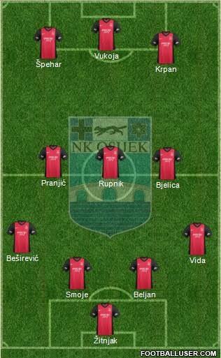 NK Osijek 4-3-1-2 football formation