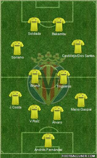 Villarreal C.F., S.A.D. 3-5-1-1 football formation