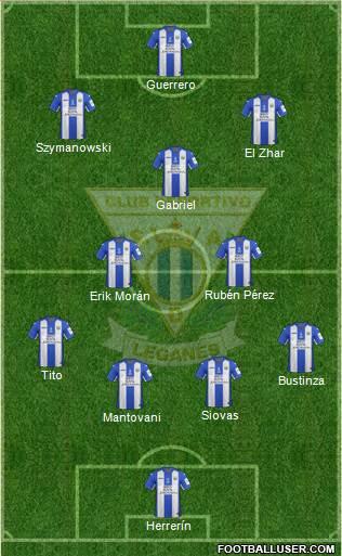 C.D. Leganés S.A.D. 4-1-2-3 football formation