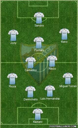 Málaga C.F., S.A.D. 4-1-4-1 football formation