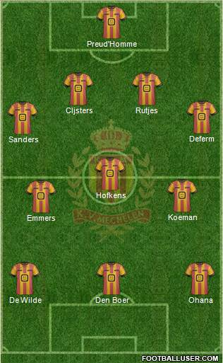 Yellow Red KV Mechelen 4-3-3 football formation