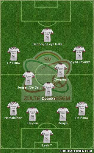 SV Zulte Waregem 4-3-3 football formation