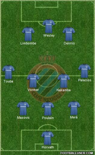 Club Brugge KV 3-4-3 football formation