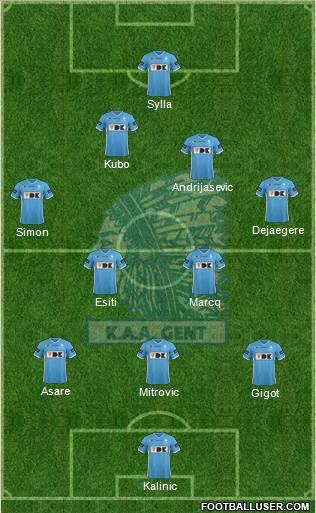 KAA Gent 3-4-3 football formation
