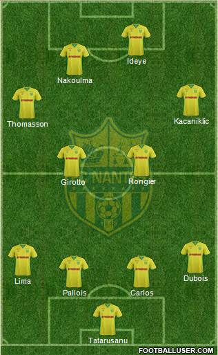 FC Nantes 4-4-2 football formation