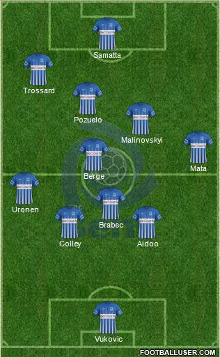 K Racing Club Genk 3-5-1-1 football formation