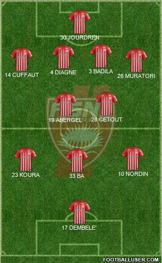 A.S. Nancy Lorraine 4-2-3-1 football formation